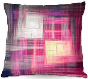 Decorative Outdoor Patio Pillow Cushion | Julia Di Sano - Tartan Crosshatch Magenta
