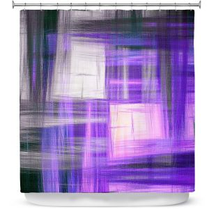 Premium Shower Curtains | Julia Di Sano - Tartan Crosshatch Purple