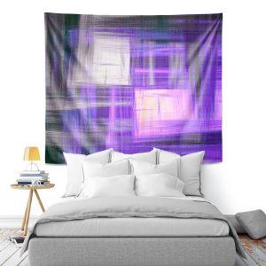 Artistic Wall Tapestry | Julia Di Sano - Tartan Crosshatch Purple