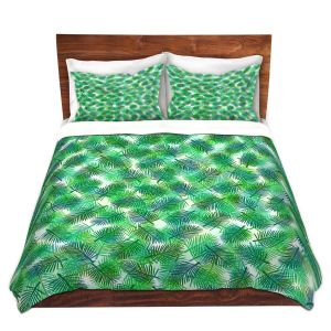 Artistic Duvet Covers and Shams Bedding | Julia Di Sano - Tropical Palms 1 | pattern nature tree leaves