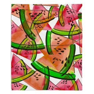 Decorative Fleece Throw Blankets | Julia Di Sano - Watermelon Picnic Orange