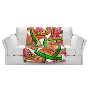 Artistic Sherpa Pile Blankets | Julia Di Sano - Watermelon Picnic Orange