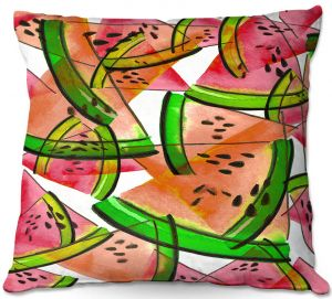 Throw Pillows Decorative Artistic | Julia Di Sano - Watermelon Picnic Orange