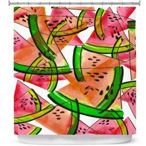 Premium Shower Curtains | Julia Di Sano - Watermelon Picnic Orange