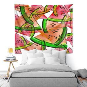 Artistic Wall Tapestry | Julia Di Sano - Watermelon Picnic Orange
