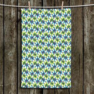 Unique Hanging Tea Towels | Julia Di Sano - Weed Love Blue Green | Marijuana Pot Smoking Cannabis