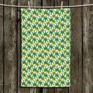 Unique Hanging Tea Towels | Julia Di Sano - Weed Love Green Yellow | Marijuana Pot Smoking Cannabis
