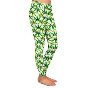Casual Comfortable Leggings | Julia Di Sano - Weed Love Green Yellow | Marijuana Pot Smoking Cannabis