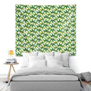Artistic Wall Tapestry   Julia Di Sano - Weed Love Green Yellow   Marijuana Pot Smoking Cannabis