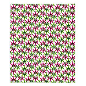 Decorative Fleece Throw Blankets | Julia Di Sano - Weed Love Pink Green | Marijuana Pot Smoking Cannabis