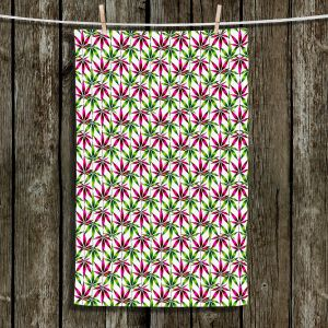 Unique Hanging Tea Towels | Julia Di Sano - Weed Love Pink Green | Marijuana Pot Smoking Cannabis