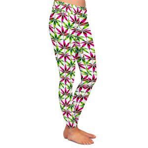 Casual Comfortable Leggings | Julia Di Sano - Weed Love Pink Green | Marijuana Pot Smoking Cannabis
