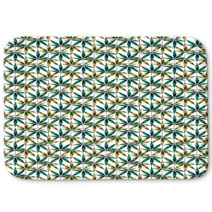 Decorative Bathroom Mats | Julia Di Sano - Weed Love Teal Tan | Marijuana Pot Smoking Cannabis