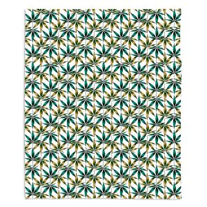 Decorative Fleece Throw Blankets | Julia Di Sano - Weed Love Teal Tan | Marijuana Pot Smoking Cannabis