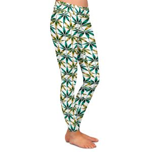 Casual Comfortable Leggings | Julia Di Sano - Weed Love Teal Tan | Marijuana Pot Smoking Cannabis