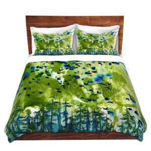 Artistic Duvet Covers and Shams Bedding | Julia Di Sano - Were Better Lime | Abstract nature trees birds landscape scenery