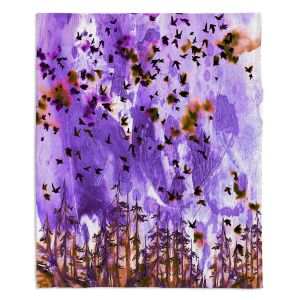 Decorative Fleece Throw Blankets | Julia Di Sano - Were Better Purple | Abstract nature trees birds landscape scenery
