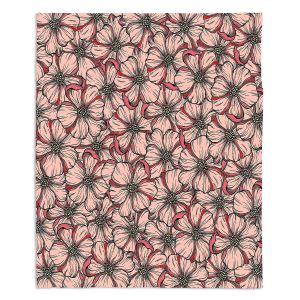 Artistic Sherpa Pile Blankets | Julia Di Sano - Wild Blooms Coral Orange | Floral Flower Pattern