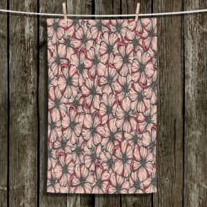 Unique Bathroom Towels | Julia Di Sano - Wild Blooms Coral Orange | Floral Flower Pattern