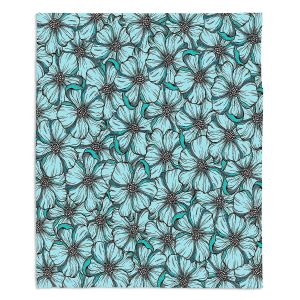 Decorative Fleece Throw Blankets | Julia Di Sano - Wild Blooms Teal Aqua | Floral Flower Pattern