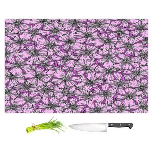 Artistic Kitchen Bar Cutting Boards | Julia Di Sano - Wild Blooms Plum Lavender | Floral Flower Pattern