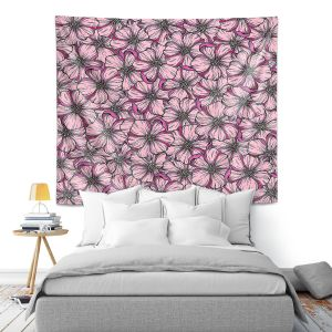 Artistic Wall Tapestry | Julia Di Sano - Wild Blooms Bold Pink | Floral Flower Pattern