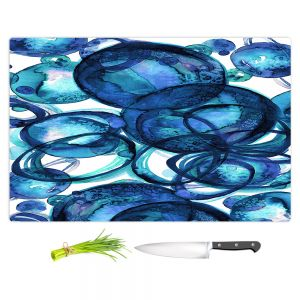 Artistic Kitchen Bar Cutting Boards | Julia Di Sano - Worlds Collide Blue | Abstract Circles