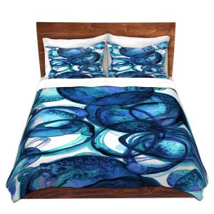 Artistic Duvet Covers and Shams Bedding   Julia Di Sano - Worlds Collide Blue   Abstract Circles
