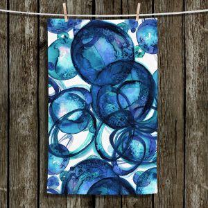 Unique Hanging Tea Towels | Julia Di Sano - Worlds Collide Blue | Abstract Circles