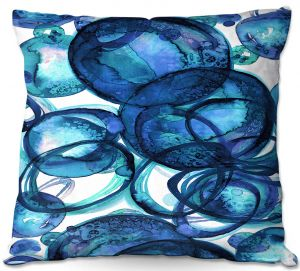 Throw Pillows Decorative Artistic | Julia Di Sano - Worlds Collide Blue | Abstract Circles