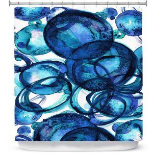 Premium Shower Curtains | Julia Di Sano - Worlds Collide Blue | Abstract Circles