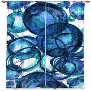 Decorative Window Treatments   Julia Di Sano - Worlds Collide Blue   Abstract Circles