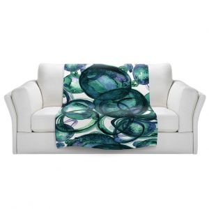 Artistic Sherpa Pile Blankets | Julia Di Sano - Worlds Collide Green Lavender | Abstract Circles