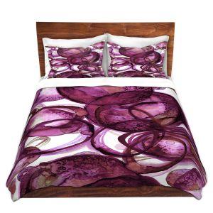 Artistic Duvet Covers and Shams Bedding | Julia Di Sano - Worlds Collide Magenta | Abstract Circles