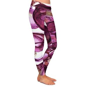 Casual Comfortable Leggings   Julia Di Sano - Worlds Collide Magenta   Abstract Circles