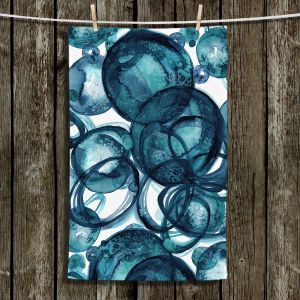 Unique Hanging Tea Towels | Julia Di Sano - Worlds Collide Teal | Abstract Circles