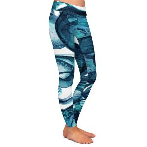 Casual Comfortable Leggings | Julia Di Sano - Worlds Collide Teal | Abstract Circles