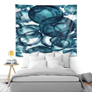 Artistic Wall Tapestry   Julia Di Sano - Worlds Collide Teal   Abstract Circles
