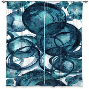Decorative Window Treatments | Julia Di Sano - Worlds Collide Teal | Abstract Circles