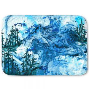 Decorative Bathroom Mats | Julia Di Sano - Worth Having Blue | Abstract nature swirls trees landscape mountains