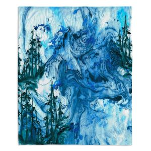 Artistic Sherpa Pile Blankets | Julia Di Sano - Worth Having Blue | Abstract nature swirls trees landscape mountains