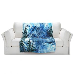 Artistic Sherpa Pile Blankets   Julia Di Sano - Worth Having Blue   Abstract nature swirls trees landscape mountains