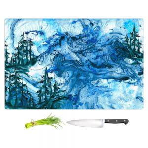 Artistic Kitchen Bar Cutting Boards | Julia Di Sano - Worth Having Blue | Abstract nature swirls trees landscape mountains