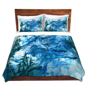 Artistic Duvet Covers and Shams Bedding | Julia Di Sano - Worth Having Blue | Abstract nature swirls trees landscape mountains