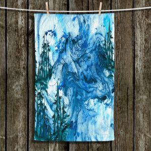 Unique Hanging Tea Towels | Julia Di Sano - Worth Having Blue | Abstract nature swirls trees landscape mountains