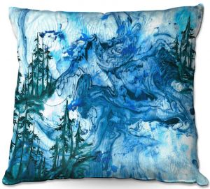 Throw Pillows Decorative Artistic | Julia Di Sano - Worth Having Blue | Abstract nature swirls trees landscape mountains