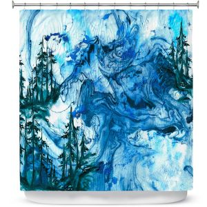 Premium Shower Curtains   Julia Di Sano - Worth Having Blue   Abstract nature swirls trees landscape mountains