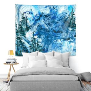 Artistic Wall Tapestry | Julia Di Sano - Worth Having Blue | Abstract nature swirls trees landscape mountains