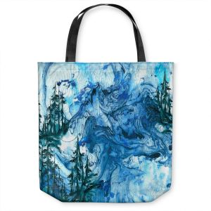 Unique Shoulder Bag Tote Bags | Julia Di Sano - Worth Having Blue | Abstract nature swirls trees landscape mountains