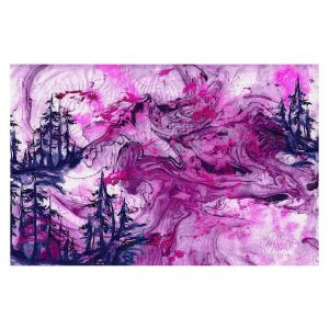 Decorative Floor Covering Mats | Julia Di Sano - Worth Having Fuchsia | Abstract nature swirls trees landscape mountains